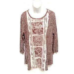 Lucky Brand rust print pullover blouse shirt